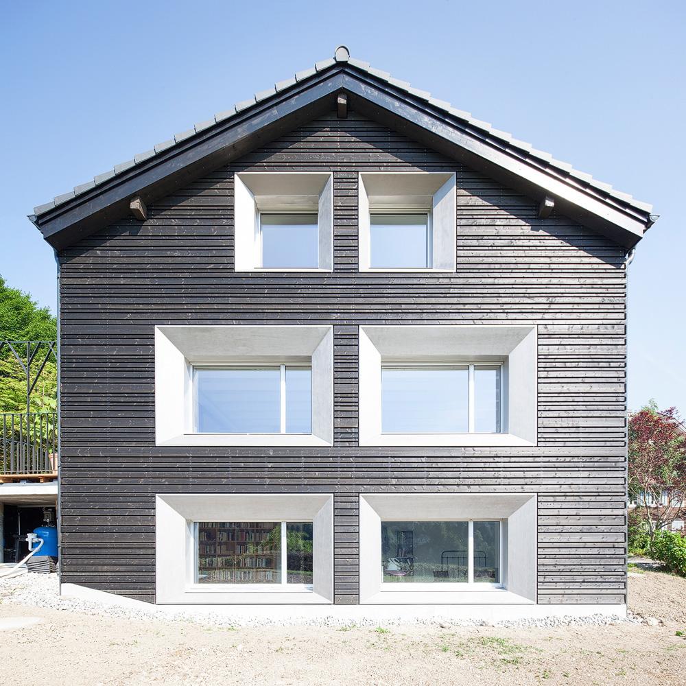 Lukas Schaffhuser Architekturfotografie Zuerich Stereo Architektur Umbau EFH-Moos Fassade Sued